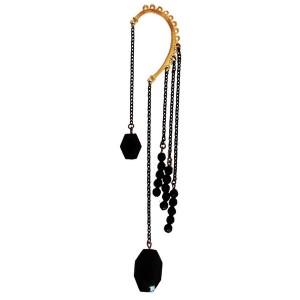 black beads ear cuff