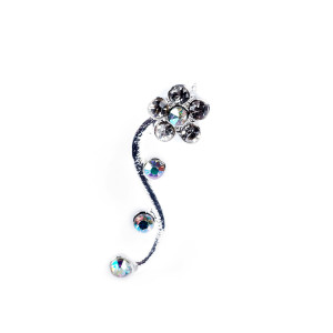 crystal flower ear pin