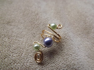 green and purple beaded ear cuff